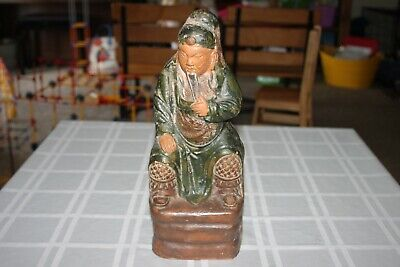 """Antique Chinese Terra Cotta Figure Large Statue Seated Man Beard 13.5"""" Tall"""