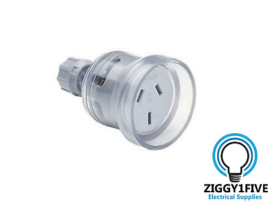 Clipsal 10A 3 Pin Female Plug Top (438-TR) 240V - Transparent.