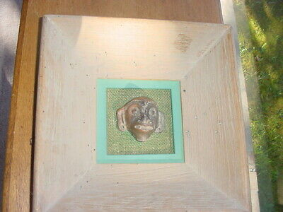 Mexican Precolumbian Pottery Head Of Monkey Mounted In Frame