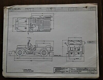VTG 1955 Willys Motors Jeep CJ-6 Mechanical Drawing / Blueprint