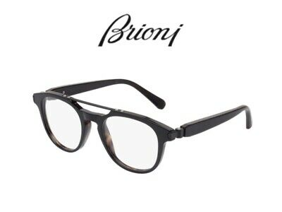 Brioni Br0003O Italian Metal Reinforced Plastic Frame Semi-Round Glasses.
