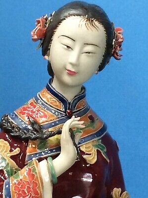 Antique Highly Detailed Delicate Chinese Girl Figure Pottery Porcelain Art Marks
