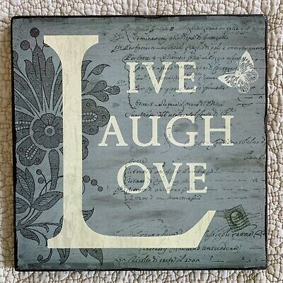 """""""LIVE, LOVE, LAUGH"""" Victorian Style Wall Hanging Decor, Wood, Plaque, Gray-NEW"""