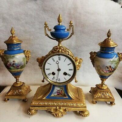 Antique French clock garniture set ormolu,gilded bronze