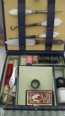 Antique sewing box kit The Ladies Workbox companion mother of pearl tools