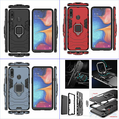 For Samsung Galaxy A20s, 3in1 Shockproof Rugged Grip Ring Car Holder Case +glass