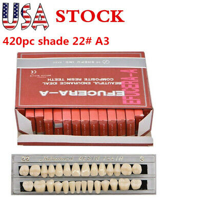 US 420pc 15Set Dental Shade 22# A3 Acrylic Resin Denture  ResinTeeth Upper Lower