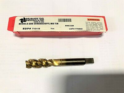 BRUBAKER TOOL M12 x 1.75 GD6 3 Flutes Spiral Point Plug High Performance Tap USA