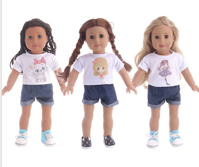 18'' American Girl Brand Doll Clothes kit T-shirt with pants 3 atytle