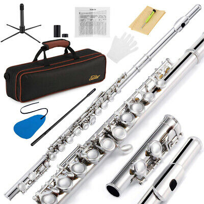 Closed Hole C Flutes 16 Key Nickel Student Beginner Flute Case Stand Glove Set