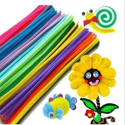 100x 10 colors Chenille Stems Craft Pipe Cleaners /Fluffy Pompoms /Toy Eyes Kit