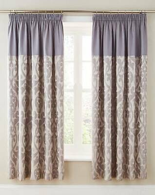 "Thea Jacquard Curtains Silver 168 X 183cm, 66 x 72"" New"