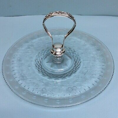 """Hawkes Cut Glass Sterling Silver Handle Serving Plate 11"""" Diameter"""