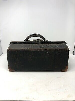 Vintage Antique Doctor Medical Bag Leather With Latch Rare
