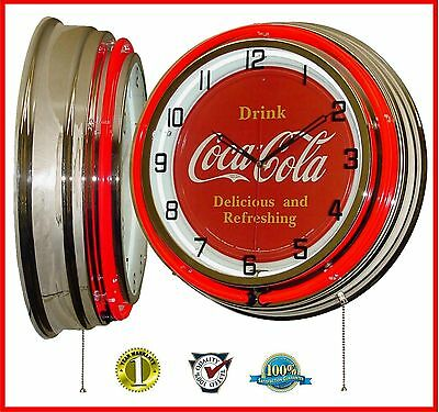 """19"""" Drink Coca-Cola Delicious & Refreshing Sign Red Double Neon Clock Chrome"""
