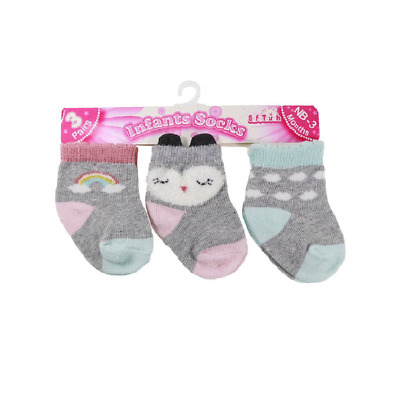 Newborn Baby Girls Ankle High Socks Pack of 3 Grey Cotton Rich Age 0-12 Months