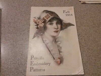 Vintage catalog Priscilla Needlework Book 1914 patterns embroidery designs