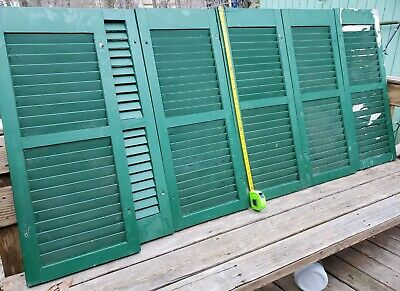 "VTG 6 Old Shutters Wooden Painted Green / Black  39"" long x16""wide"