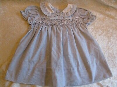 Vintage Polly Flinders Hand Smocked Blue & White Striped Baby Dress - 24 Months