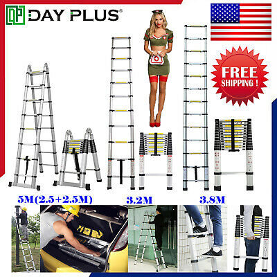 12.5FT 16.5FT Aluminum Multi-Purpose Telescopic Ladder Extension Foldable Duty