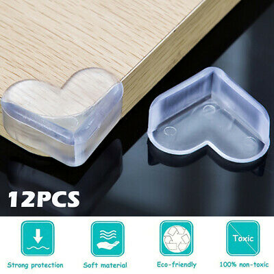 12PC-Clear Rubber Furniture Corner Edge Table Cushion Guard Protector Baby Safty