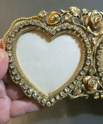 Vintage Matson rose heart Vanity JEWELED gilt photo picture double Frame
