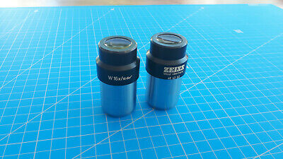 Pair of Zeiss W 16x/16 30 mm microscope eyepieces 46 42 02