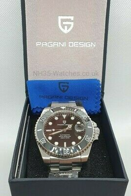 Pagani Design Automatic Ceramic Black Divers Watch Seiko Nh35A Submariner Homage