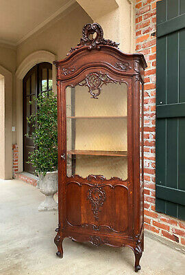 Tall Antique French Carved Oak Vitrine Glass Display Cabinet Louis XV