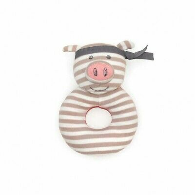 100% Organic Cotton Soft Baby Teething Rattle Toy - Pork Chop
