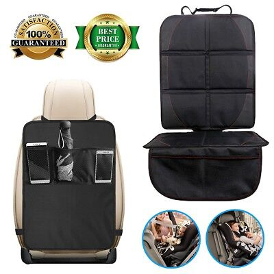 [Dirty-Resistant] Auto Car Seat Cover & Kids Kick Mats with Backseat Organizer