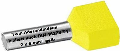 Twin Wire Ferrules 2 x 6 mm ² Yellow End Double Tinned