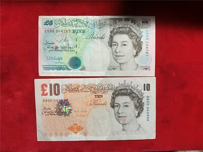 Great Britain Bank Of England 1990 5 Pounds And 2000 10 Pounds Very Fine