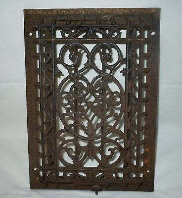 "Antique Cast Iron Victorian Heat Grate WALL Register 9.5X13.5"" Vtg Old/not floor"