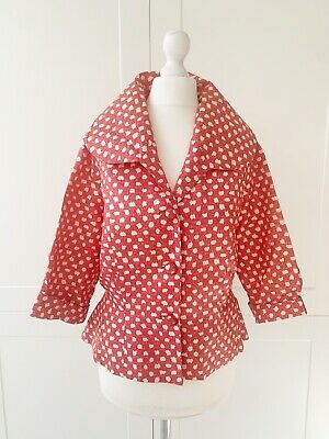 Vintage 1950s Red Polka Dot Peplum Jacket 14 16