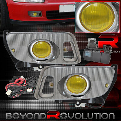 For 92 93 94 95 Honda Civic Jdm Replacement Upgrade Front Yellow Fog Light Lamp