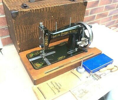 Antique Gamages Handcrank lockstitch Sewing machine with accessories & Manual