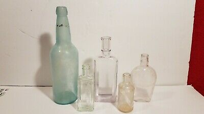 Set of 5 Vintage Glass Bottles 1 Large Turquoise, 1 Small Listerine, 3 Small
