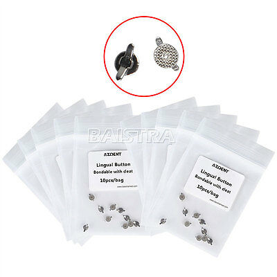 100Packs Dental Orthodontic Lingual Buttons Cleat Double Wing Mesh Base Bondable