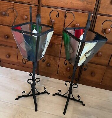 Vintage Medieval Stained Glass Wrought Iron Candle Lanterns