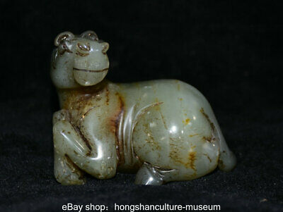 6.5CM Old China nephrite Jade Carved Zodiac Year Horse Animal Statue Sculpture