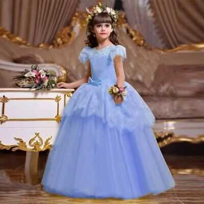 Childrens Kids UK Girls Cindrella Blue Lace Princess Gown UK STOCK *Perfect Gift