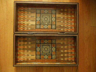 Large Wooden Inlaid Marquetry Chess Checkers & Backgammon Game Board