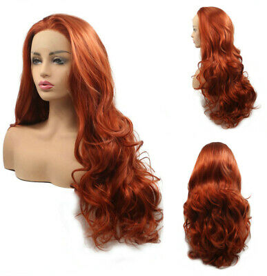 AU 24inch Synthetic fiber 13x3 Lace front wigs  Copper Red Handtied Wavy Long