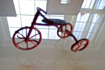 "Vintage Mid-century Dollhouse Miniature ""Antique"" Red Metal Tricycle 1-1/4""H 2""L"