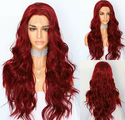 AU 24inch Synthetic 13x3 Lace front wigs Heat safe Wavy Long Wine Red