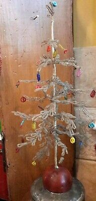"""Antique Christmas Tree Beaded Wire Feather Tree Style Victorian RARE 13"""""""