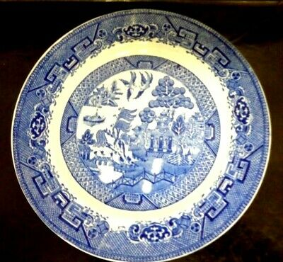 Antique Stoke On Trent China Willow Pattern Plate Blue & White Transferware