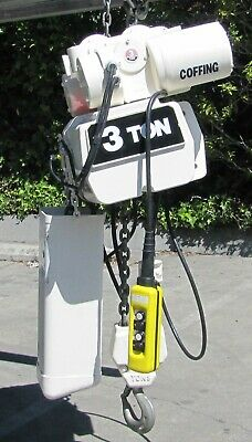 Coffing 3 ton Electric Chain Hoist w/ Trolley 460V 3 Phase 22 ft length 6000 lbs