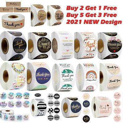 X500 Thank You Stickers For Your Purchase Business Labels Round Heart Wedding